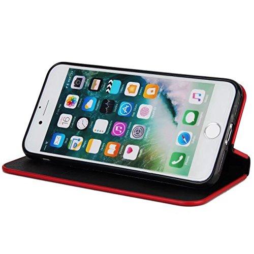 JIALUN-étui pour téléphone Luxe Slim Magnetic Closure Pattern Solid Color PU Cuir Flip Folio Housse Case avec slot pour carte pour iPhone 7 et 8 ( Color : Wine Red ) Black