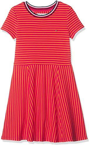 Tommy Hilfiger Mädchen Stripe Knit Skater Dress Kleid,per Pack Rot (Virtual Pink/Russet Orange 638),98 (Herstellergröße:3)