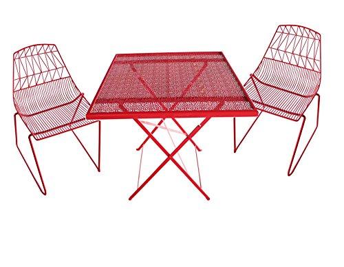 Set 2 sedie con tavolino in ferro zincato colore rosso - arredo da giardino in ferro miglior prezzo