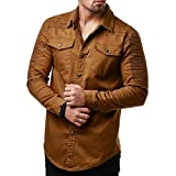 MRULIC Herren Casual Slim Fit Button-Down Shirt mit Tasche Langarmshirts(Khaki,EU-46/CN-L)