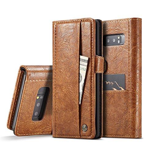 JINXIUCASE Einfacher Geschäfts-Schlag PU-Leder-Mappen-Karten-Schlitz-Taschen-Abdeckungs-voller Körper-Schutz-Kasten für Samsungs-Galaxie-Anmerkung 8 (Color : Brown) - 3 Anmerkung Für Handy-kästen