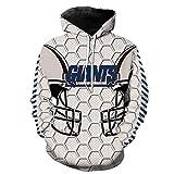 WEIYIGE Sweatshirt 3D New York Giants Print Kapuzenpullover mit Rollkragenpullover Herren Cap Herrenpullover - L
