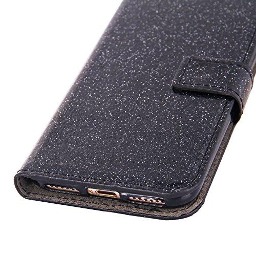 iPhone 8Plus Handytasche, Schön Diamant CLTPY iPhone 7Plus Ledertasche Folio Brieftasche im Bookstyle, Metall Magnetic Closure Etui für Apple iPhone 7Plus/8Plus + 1 x Stift - Schwarz 3 Schwarz