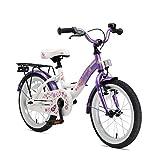 BIKESTAR Premium Sicherheits Kinderfahrrad 16 Zoll für Mädchen ab 4-5 Jahre ★ 16er Kinderrad Classic ★ Fahrrad für Kinder Lila & Weiß
