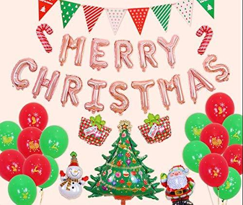 HANJIAJKL Jungen und Mädchen Weihnachtsschmuck Folienballon Set/Happy New Year Cartoon Aluminium Ballon/Für Weihnachten, Party