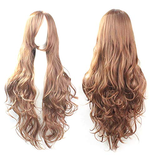 Rifuli® Perrücke Cosplay Kostüm Perücken Frauen Lange Locken Wellenförmige Rote Halloween Party Anime Haar Echthaar Perücke (Party Toga Frauen)