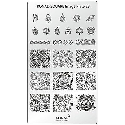 KONAD Placa de Diseños Rectangular 28 para Estampado de Uñas