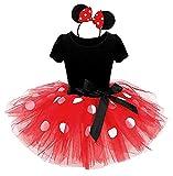 Costume Topolina - Abito - Costumino - Minnie - Body - tutù - tulle - Cerchietto - Carnevale - Halloween - Accessori - Bambina - Taglia 90-2 anni - Idea regalo natale compleanno - Rosso