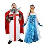 Déguisement de couple pour enfant avec ce costume de chevalier (XLarge) et son épée + une robe de princesse (Small) et son diadème à l'effigie d'Anna la reine des neiges. Idéal pour les fêtes de fin d'année ou Halloween.