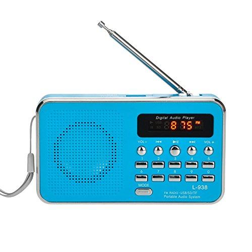 iMinker Mini-Digital-beweglicher FM Radio-Mittel-Lautsprecher MP3-Musik-Spieler TF / SD Karte Usb-Scheiben-Hafen für PC iPod-Telefon mit LED-Anzeige und Akku (Blau)