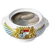 Van Well Löwenkopf-Terrine Bavaria | Ø 235 mm | 2.4 Liter | bayrische Geschirr-Kollektion mit Wappen | große Suppenschale | Porzellan-Schüssel | Bayern