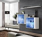 Elbectrade blasco Vetrine sospese per soggiorno eleganti Vidal cm130x110x30 finitura bianco