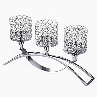 ManChDa 3 Brazos de Cristal candelabros Manga para centros de Mesa de Boda decoración del hogar Regalos para Navidad acción de Gracias (Plata)