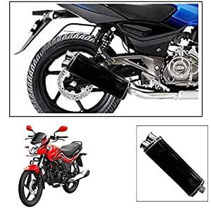 ExhaustShop Double Barell Black Motorcycle Exhaust Free Flow Exhaust Silencer For Hero Motocorp Passion Xpro