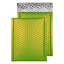 Blake Purely Packaging C5+ 250 x 180 mm Matt Metallic Padded Bubble Envelopes Peel & Seal (MTLG250) Lime Green - Pack of 100