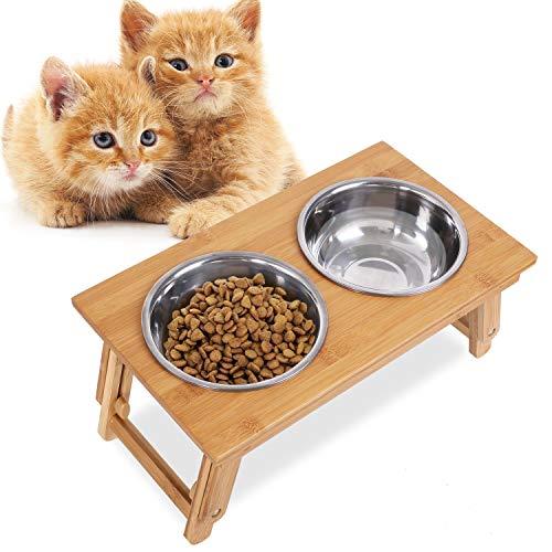 PEDY Futterstation Katze Hundebar Holz Höhenverstellbar 20.5cm-46 cm Bambus Doppel-futternapf für Katze Kleine Große Mittlere Hunde 4 Schüsseln