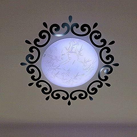 BTJC Autocollants / Creative Plafond rond Miroir décoratif Stickers muraux / Acrylique Stickers muraux 3D / Style continental ( Color : Noir )