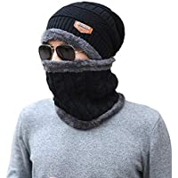 Leegoal Winter Beanie Hat Scarf Set, Warm Knitted Hat Scarf Set Warm Knitted Beanie Hat and Circle Scarf Set for Men Outdoor Sports (Black)