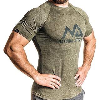 Natural Athlet Fitness T-Shirt Meliert - Herren Männer Kurzarm Shirt Optimal für Fitnessstudio, Gym & Training - Passform Slim-Fit, Rundhals & Tailliert - Sport & Freizeit, Olive, Gr. L
