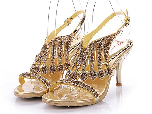 XINJING-S Frauen Strass Crystal High Heel Hochzeit Braut Party Dress Sandale Schuhe Gold