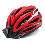 Victgoal Bike Helmet with Visor LED Taillight Insect Net Padded Road Mountain Bike Cycling Helmet Lightweight Cycle Bicycle Helmets for Adult Men and Women (Red Black)