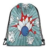 Juziwen Printed Drawstring Backpacks Bags,Retro Comic Cartoon Ball Crash Image Pop Art Stars Aim Party Game Design,Adjustable String Closure