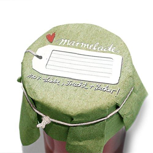 10 Marmeladendeckchen GRÜN, Gläserdeckchen für selbstgemachte Marmelade aus sehr weichem Papier, + 10 Textilgummis creme