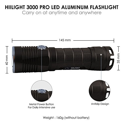 HIILIGHT LED Taschenlampe 3000 Pro - Taktische Outdoor XM-L2 Flashlight Mit Akku Set - 4