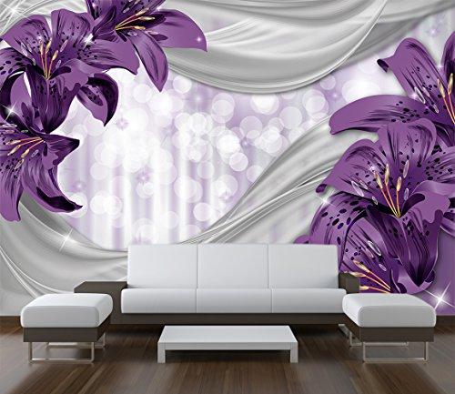 Preisvergleich Produktbild Premium-Vliestapete XXL Lilie Lila abstrakt Fototapete Premium brilliante Farben Vliestapete / Muster 50 x 35cm - 1 Bahnen / Premium-Vlies
