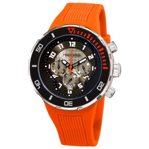 Philip Stein - 33-XBOGR-RO - Montre Homme - Quartz Analogique - Cadran Noir - Bracelet Silicone Orange