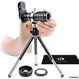 Juego de lentes universales 3en1 con 12x lentes telefoto + macro + gran angular – Impresionante fotografía móvil para iPhone de Apple, Samsung Galaxy, etc. – Pinza de lente de bloqueo