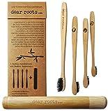 Bambus Zahnbürste 4er Set mit Reiseetui aus Bambus Holz ♻ vegan und BPA frei ♻ Kleiner Bürstenkopf und mittelweiche Aktivkohle Borsten für beste Reinigung und weiße Zähne