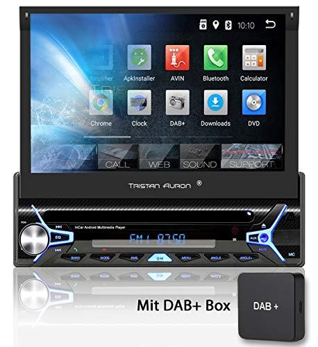 Tristan Auron BT1D7022A Autoradio + DAB+ Box, Android 8.1, 7\'\' Touchscreen Bildschirm, GPS Navigation, Bluetooth Freisprecheinrichtung, Quad Core Prozessor, Mirrorlink, USB, SD, OBD 2, DAB I 1 DIN