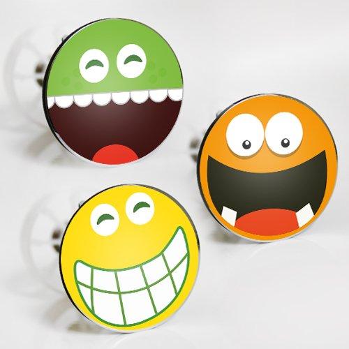 StöpselSpaß Aufkleber für Waschbeckenstöpsel - Motiv: Smileys - 3 Stück im Set