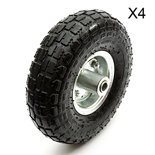 "Price comparison product image 10"" 10 Inch Sack Barrow Truck Trolley Wheel & Pneumatic Tyre With Bearings (Pack of 4)"