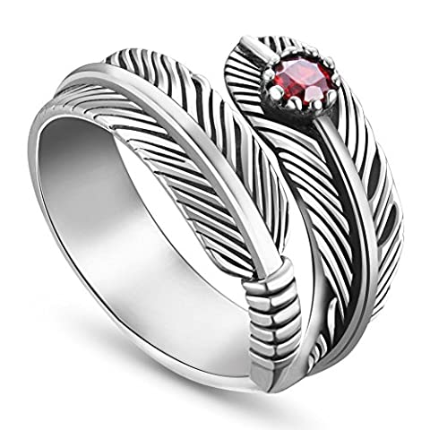 Sweetiee 925 Sterling Silver Ring Antique Feather with Red Zircon Adjustable 18mm for Girls