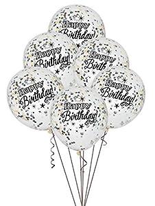 Unique Party- Paquete de 6 globos confetti de cumpleaños, Color plata, oro y negro, 30 cm (58285)