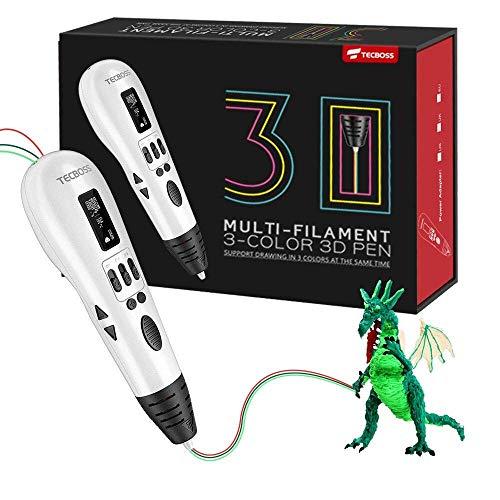 Tecboss Penna 3D, 3D Penna Stampa con 3 Porto di Alimentazione e Schermo LCD e Controllo della Temperatura, Perfetto Regalo di Natale per Bambini Adulti Artista