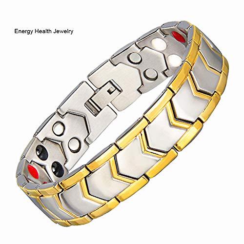 HXML Magnetarmband,Mode Titan Stahl Zweireihig Magnetband Männer Kette Negativ-Ionen-BalancearmbandSchmerzlinderungFürArthritis MitEntfernenWerkzeug
