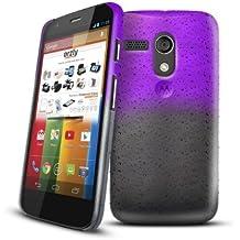 Orzly® - Raindrops Hard Back Crystal Case per MOTO G - FUNDA / CARCASA / CAJA DURO en Semi Transparente PÚRPURA / MORADO Color para MOTOROLA MOTO-G SmartPhone / Teléfono Móvil - 2013 modelo / versión