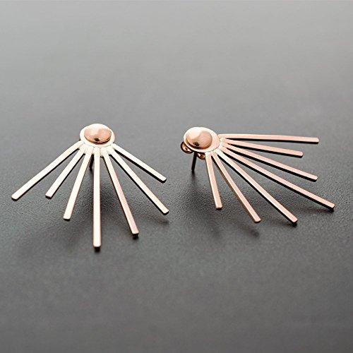 Paar rosa Gold Spike Ohr Jacke Ohrringe aus Sterlingsilber von Emmanuela