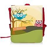 Kinder-Rucksack mit Namen Victoria und schönem Motiv mit Eulen-Landschaft für Mädchen