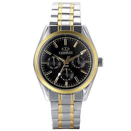 JewelryWe Herren Armbanduhr, Analog Quarz, Luxus Elegant Business Uhr mit Gold Silber Edelstahl Armband & Schwarz Rund Zifferblatt