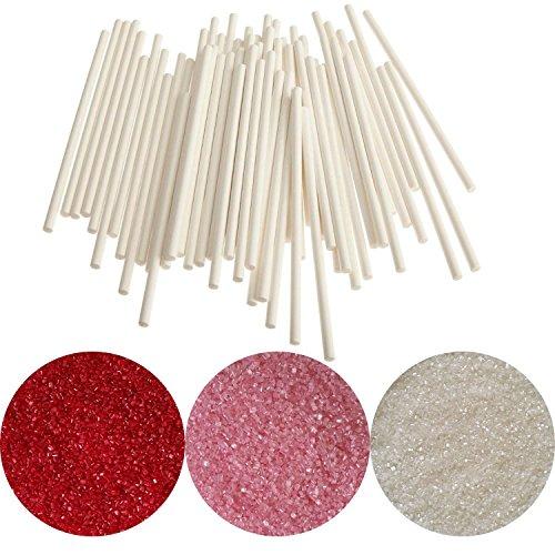 (yagma Stiele für Lollies - 50 Stück - 15 cm weiß incl. Glimmerzucker in wunderschön leuchtender Farbe (Set - Mädchentraum))