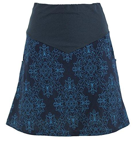 Guru-Shop Minirock, Boho Tellerrock Organic, Damen, Blau, Baumwolle, Size:XL (42), Kurze Röcke Alternative Bekleidung (Bio-baumwolle Rock)