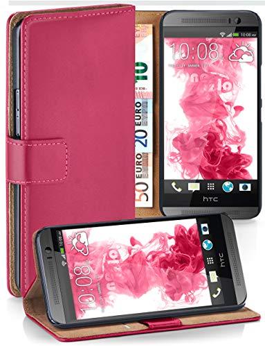 moex® Booklet mit Flip Funktion [360 Grad Voll-Schutz] für HTC One M8 | Geldfach und Kartenfach + Stand-Funktion und Magnet-Verschluss, Pink (Htc M8 Flip-telefon Fall)