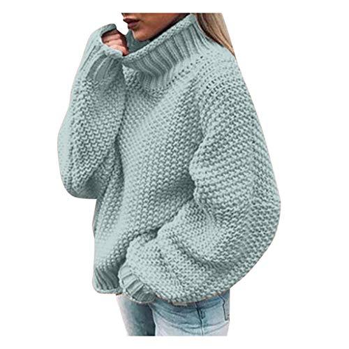 TAMALLU Damen Sweatshirt Mode Lässig Langarm Einfarbig Rollkragenpullover(Hellblau,3XL)
