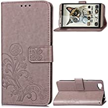 "Cubot X15 Case,Gift_Source [Card Slot] Flip Wallet Case Premium Soft PU Leather Folio Protective Shell Vintage Emboss Flower Cover Stand & Wrist Strap for Cubot X15 (5.5"") [Gray]"