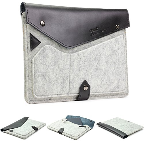 let dpark Tasche Hülle Sleeve Notebooktasche Laptophülle kompatibel mit iPad Mini & Mini 2, Galaxy Tab S2 8.0, Sony Xperia Z3 Tablet Compact in Grau Schwarz ()