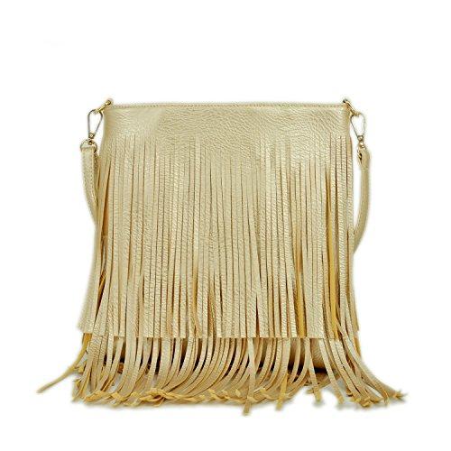 PB-SOAR Ladies Stylish Faux Leather Shoulder Bag Cross Body Bags Handbag Messenger with Fringe (Gold)